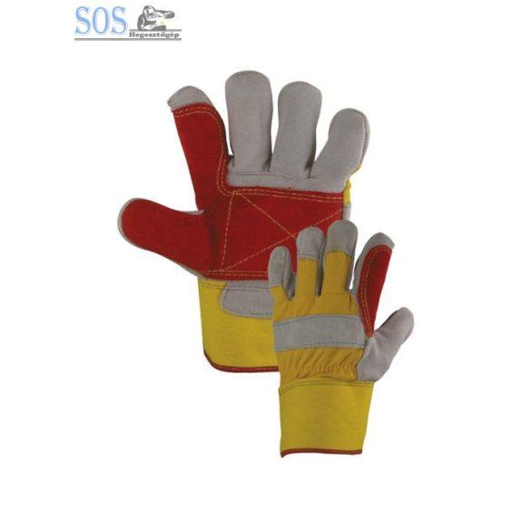 Panther dupla tenyérerősítésű rakodókesztyű sárga/piros, marhabőr, bélelt (10db/cs)