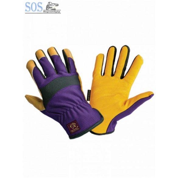 Panther sofőrkesztyű, légátersztő elasztikus kézhát, borjúbőr, 10-es, sárga/lila/fekete (10db/cs)